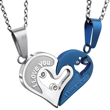 Two Colors Stainless Steel Mens Womens Couple Necklace Pendant Love Hear... - $14.29