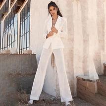 Brand Designer White Mesh Temperament Hollow Fashion Blazer + Pant Suit Set