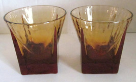 Vintage (2) Anchor Hocking Depression Amber Color Glasses Tumblers - $15.99