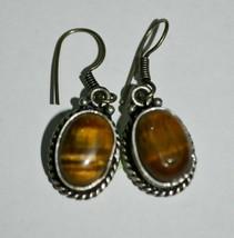 Vintage Sterling Silver Tiger Eye Earrings - $29.60