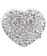 Bubbly Crystal Rhinestone Heart Stretch Adjustable Ring Valentine Silver... - $13.00