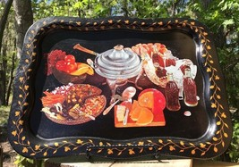 "Vintage Coca Cola Metal Serving Tray Lap Buffet Themed Black 18 5/8"" x 1... - $27.42"