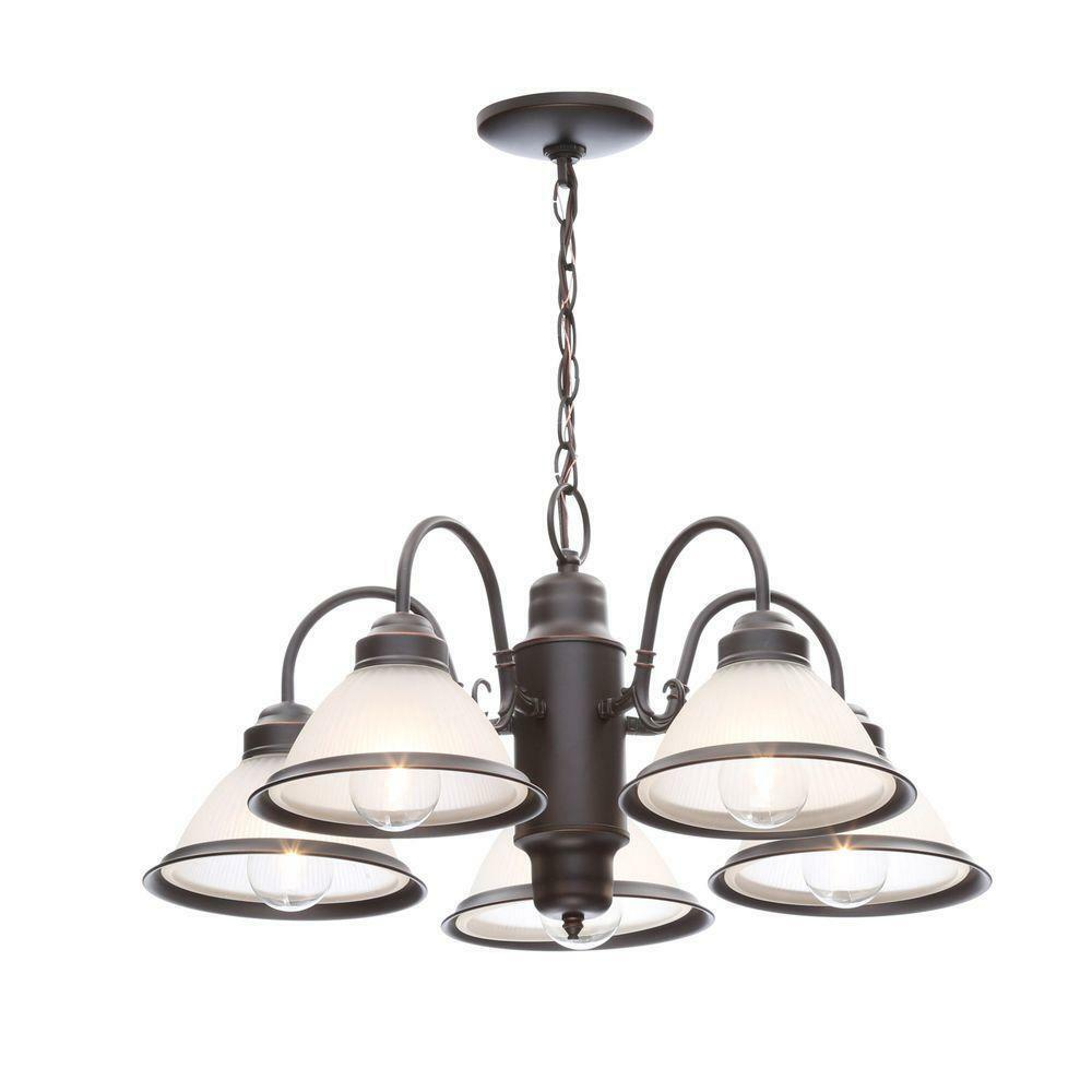 Primary image for Hampton Bay Halophane 5-Light Oil Rubbed Bronze Chandelier