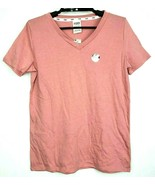 Victoria's Secret PINK Womens Dark Pink Short Sleeve V Neck Tee Shirt XS... - $13.84