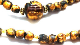 Metallic gold painted Beaded Long Necklace - $18.00