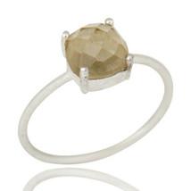 Lemon Topaz Gemstone 925 Silver Prong Set Stacking Ring Handmade Jewelry - $13.11