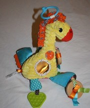 Infantino Giraffe SOFT BABY TOY Rattle Wooden Rings Yellow Chenille Teet... - $14.48