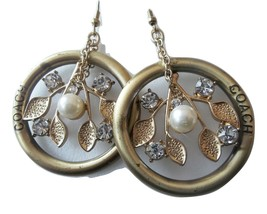 Vintage coach hoop pierced earrings,brass color,up-cycled,drop & dangle earrings - $49.00