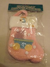Commodore Fabric Ornament - NEW - Baby Pink Christmas Stocking Ornament - $6.64