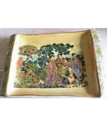 Vintage Raised Gold Ornamental Chinese Porcelain Enameled Painted Tray M... - $34.99