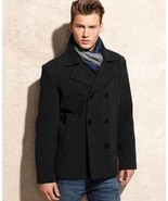Kenneth Cole Reaction Men's Wool-Blend Peacoat with Scarf - Size's L & S - $129.99