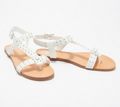 Vince Camuto Leather Studded Sandals Ravensa Pure 7 M - $49.49