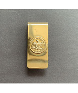 Patriotic Money Clip Embossed 1840 Eagle Seal Gold Tone - $11.84