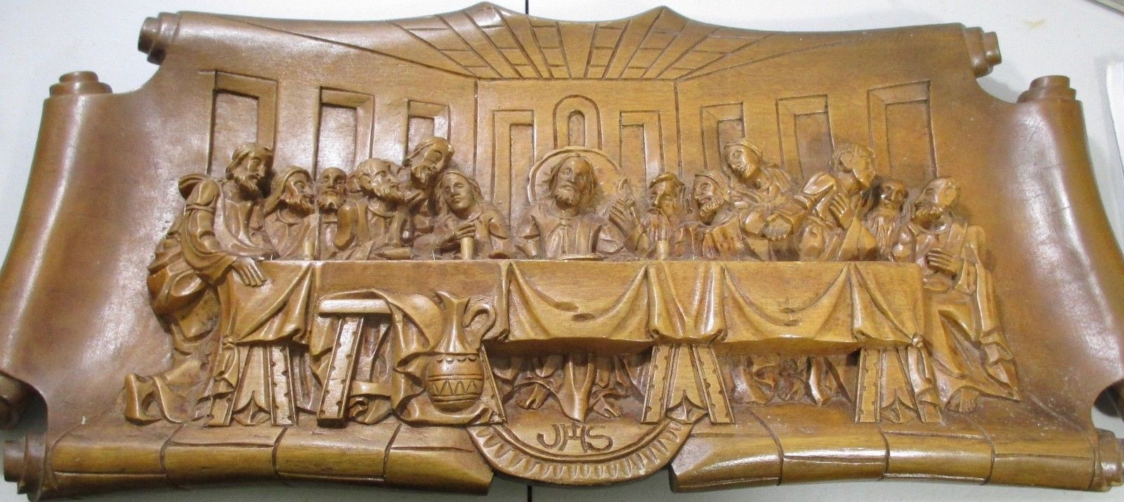 Last supper d art orthodox wood carved religious icon large