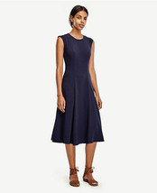 Ann Taylor Crepe Midi Dress, Triacetate Blend, Navy, Solid, Size 10, NWT - $116.99