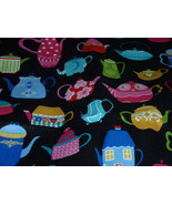"""Abstract Tea Pots Print Mulitcolor 100% Cotton Fabric  44"""" Wide Sold by ... - $4.99"""