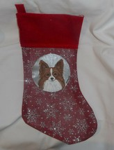 Papillon Dog Hand Painted Christmas Gift Stocking Holiday Decoration - $36.00