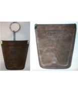 Coach Vintage Squeeze Suede Keychain Key Coin Case Fob Mahogany Brown Be... - $39.00