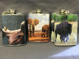 Set of 5 Wild Animals Set 3 Flasks 8oz Stainless Steel Hip Drinking Whiskey - $25.30
