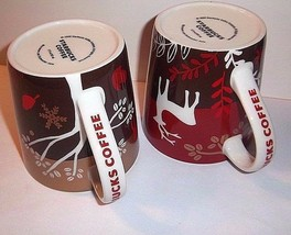 STARBUCKS Mugs 2 RARE Holiday Wolf Reindeer Christmas Gold Red Taiwan Boxes - $89.09