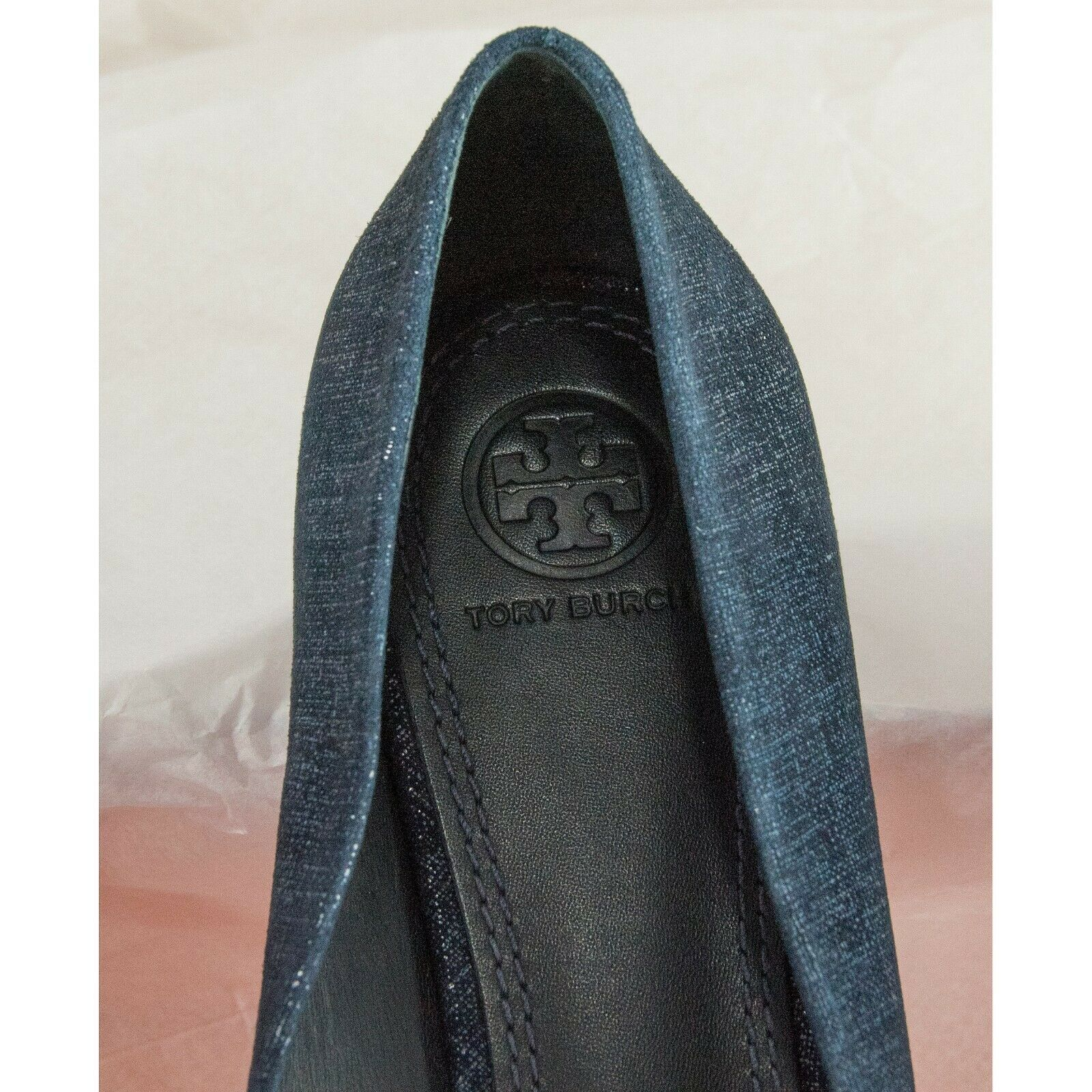 Tory Burch Denim Look Navy Suede Leather Rosalind Pointed Toe Bow Ballet Flat 9