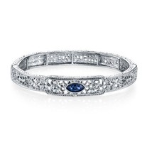 The Downton Abbey Collection Silver Blue Crystal Filigree Estate Bracele... - $28.59