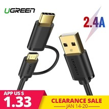 UGREEN® Micro USB Cable For Samsung S9 Plus 2 In 1 USB Type C Cable Fast - $3.67+