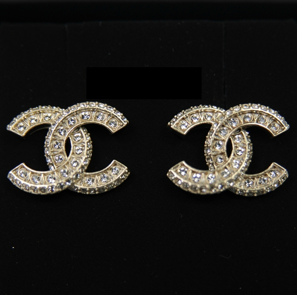 Cc Chanel Earrings: CHANEL GOLD XL LARGE CRYSTAL CC STUD EARRINGS GOLD
