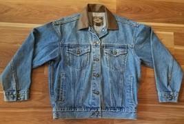 Express EXP Blue Denim Faux Leather Collar Trucker Jean Jacket for Women... - $22.40