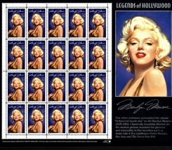 USPS Stamps - MARILYN MONROE LEGENDS OF HOLLYWOOD SHEET OF 20  STAMPS, 1995 - $17.50