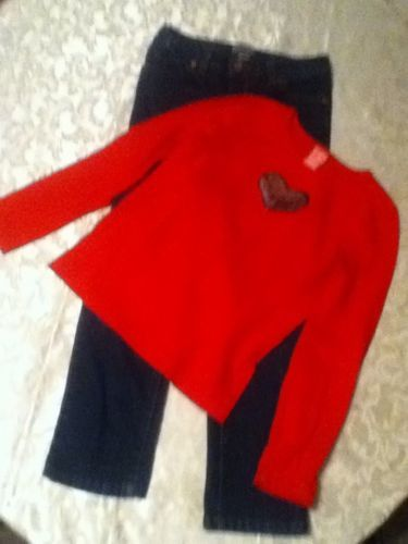 Primary image for Girls-Lot of 2-Size 7-8-red sweater-Size 8-Cherokee blue jeans