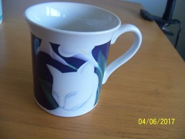 vintage japan cat coffee cup mug white kitty calla lily flower 1987 hall... - $14.85