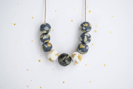 Polymer clay beaded necklace, modern blue necklace gift, statement necklace - $31.00
