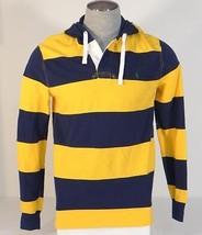 Polo Ralph Lauren Yellow & Blue Striped Hooded Long Sleeve Polo Shirt Men's NWT - $86.24