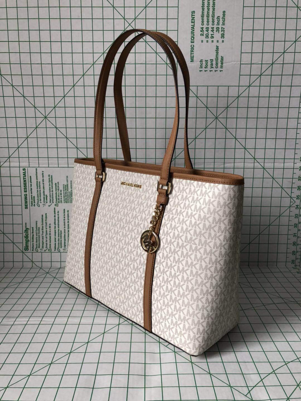 ee0a2f931be3 Michael Kors Sady Large Multifunction Top Zip Tote Bag Vanilla Signature  Acorn