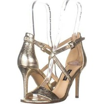 Nine West Mydebut Dress Heel Sandals 514, Gold Leather, 6.5 US - $23.99