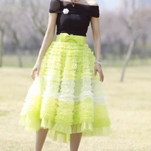 Yellow Midi Layered Tulle Skirt High Waisted Princess Tulle Skirt Holiday Outfit image 3