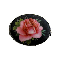 Vintage Sterling Silver & Hand Painted Porcelain Rose Brooch Pin - $26.00