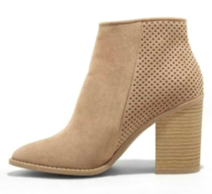 A New Day Taupe Crissy Microsuede Laser-cut Block Heeled Fashion Booties NWT image 2