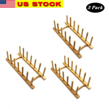 Lawei 3 pack Bamboo Wooden Dish Rack - Plate Rack Stand Pot Lid Holder, ... - $18.80
