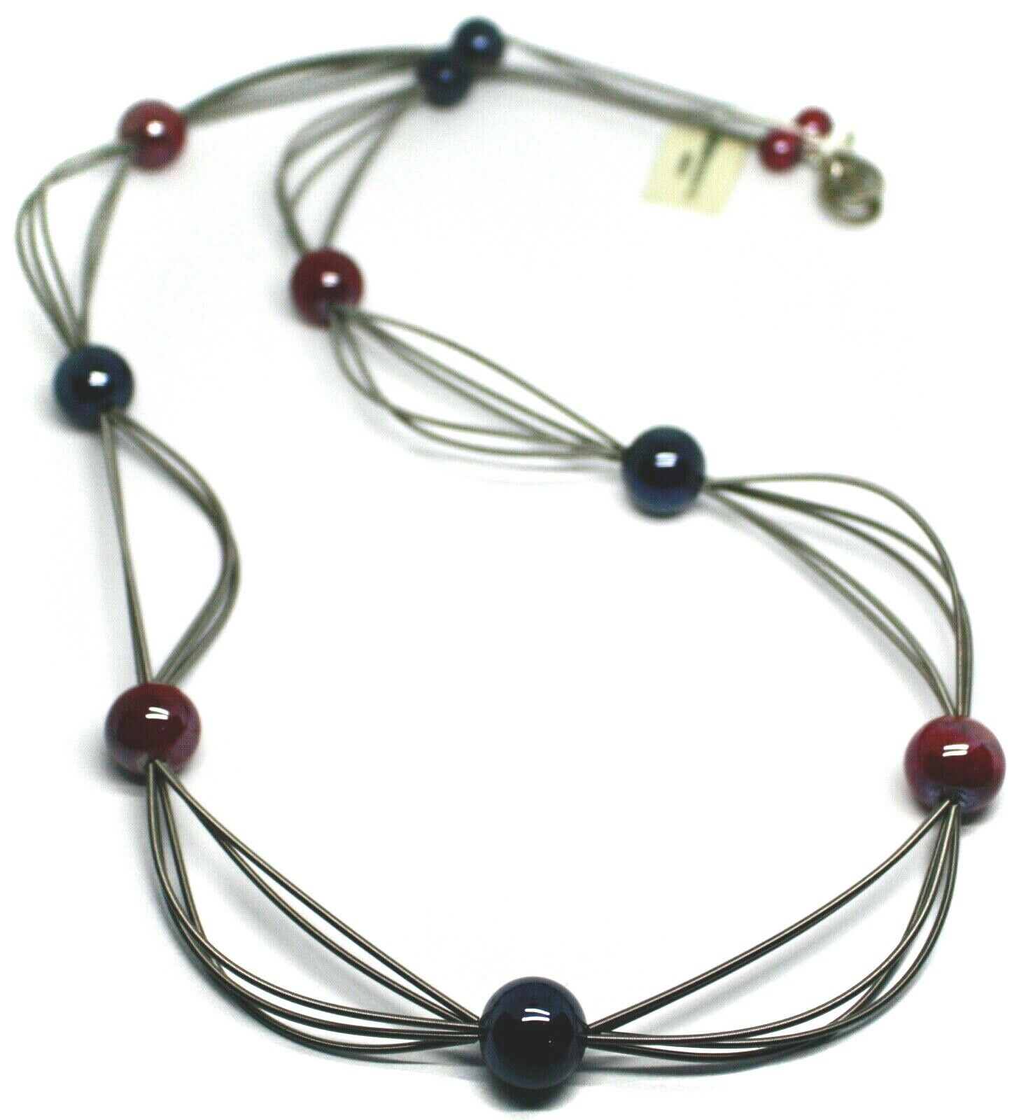 "MULTI WIRES NECKLACE RED BLUE BIG MURANO GLASS SPHERES, 90cm 35"" LONG, ITALY"