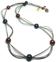 "MULTI WIRES NECKLACE RED BLUE BIG MURANO GLASS SPHERES, 90cm 35"" LONG, ITALY image 1"