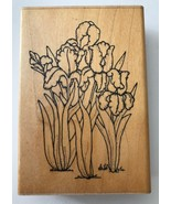 Iris Garden #U129 Rubber Stamp by D.O.T.S. 3.75 x 2.75 Wood Mounted - $7.84