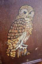 Vintage Rustic Owl Print Wood Plaque Wall Hangi... - $12.87