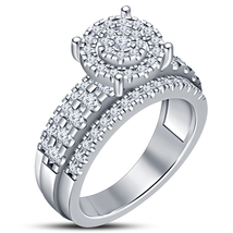 Round Cut CZ White Gold Plated 925 Silver Solitaire With Accents Engagement Ring - $82.20