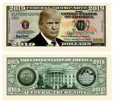 Pack of 25 - Donald Trump Presidential Re-Election Novelty Dollar Bill 2019 - $8.90