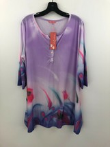 Firmiana Simply Aster Tunic Top Blouse Womens 2X Purple Floral Stretch N... - $24.14