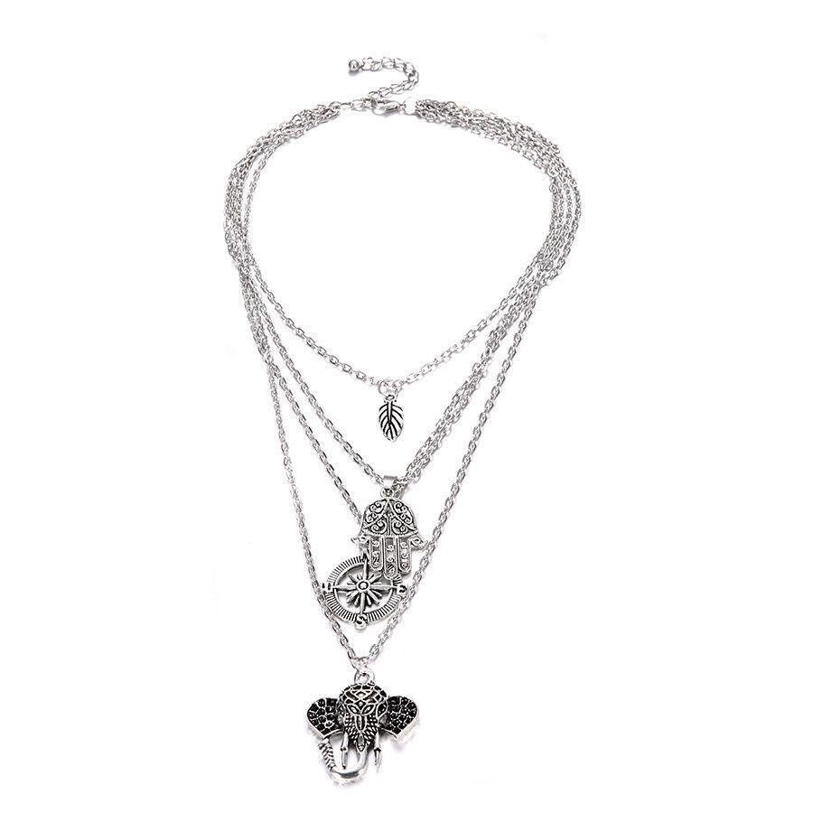 Jewdy® Elephant Moon Leaf Pendant Choker Vintage Silver Metal OM Collar Necklace