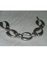 Vintage Slightly Puffed Two Crescents with Fleur De Lis Silvertone Link ... - $10.39