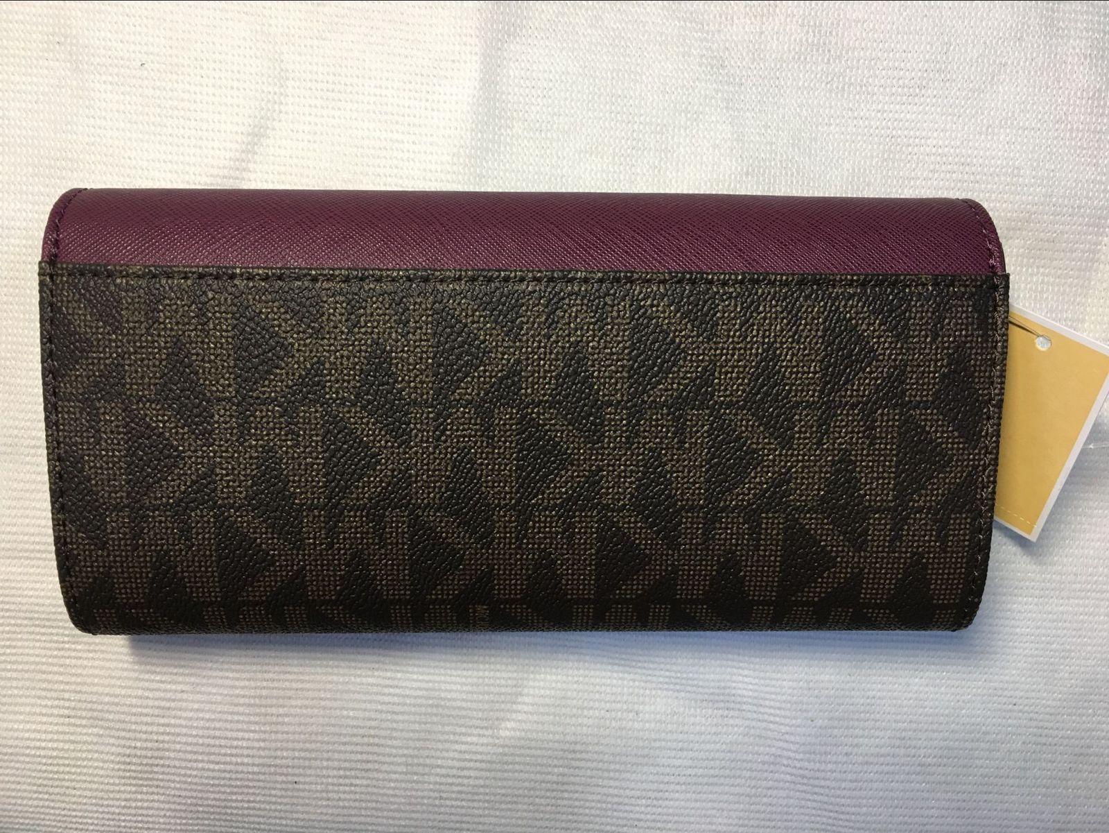 0d8a610dc49b Authentic Michael Kors Signature PVC and Leather Bridgette Flap Wallet  BRN/PLUM
